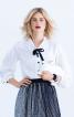 Блузка прямого крою зі складками на рукавах - фото 1