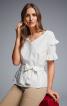 Блузка прямого крою з оборками і поясом-бантом - фото 1