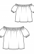 Блуза прямого крою з вирізом кармен - фото 3