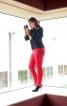 Вузькі брюки зі вставками по боках - фото 1