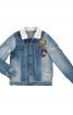 Куртка джинсова з хутряним коміром - фото 2