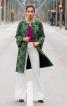 Пальто прямого крою з оборками на рукавах - фото 1