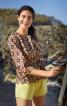 Блуза із застібкою поло і поясом - фото 1