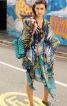 Сукня-каптан з розрізами і поясом - фото 1