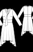 Платье с асимметричной юбкой и воротником-шарфом - фото 3