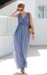 Сукня максі з глибоким вирізом і завищеною талією - фото 1