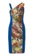 Сукня приталеного силуету з асиметричним вирізом горловини - фото 2