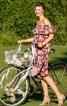 Сукня просторого крою з вирізом кармен - фото 1
