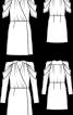 Сукня атласна з запахом і пишними рукавами - фото 3