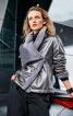 Куртка шкіряна з асиметричною застібкою - фото 1