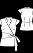 Блузка приталеного крою із запахом і баскою - фото 3
